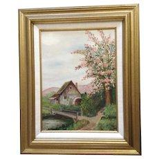 Mrs. T. N. Steed, Old Waterwheel Oil Painting