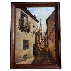 Deserted European Street Scene, Oil Painting on Canvas Monogrammed by Artist