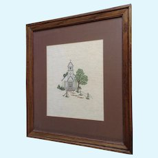 White Country Church, Hand Cross Stitched Embroidery Needlepoint Framed Picture
