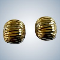 Pretty Gold Tone Clip on Earrings Costume Jewelry 1-1/4""