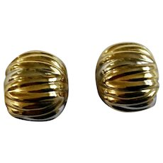"""Pretty Gold Tone Clip on Earrings Costume Jewelry 1-1/4"""""""