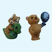 Hallmark Merry Miniatures Grin and Bear it and Chipmunk Figurines