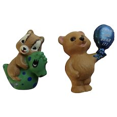 Hallmark Merry Miniatures 1990 Grin and Bear it and 1993 Chipmunk on a Seahorse Group of Figurines