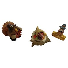 Hallmark Merry Miniatures Thanksgiving Group of Figurines 1995 Turkey, Table and Chipmunk Eating Corn Figurines
