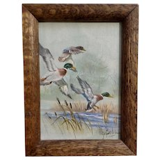 Olga Brillos, Mallard Ducks Flying In Oil Painting on Canvas Signed by Artist