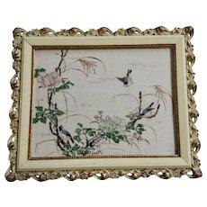 Vintage 1920's-1940's Blue Birds in Rose Bush Hand Painted Porcelain Tile Japan