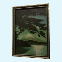 Vintage Print of Mount Fuji in Japan 1920's in Original Wood Frame