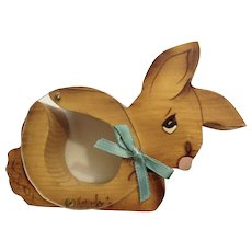 Henneke, Wood Bunny Rabbit Coin Bank Hand Painted