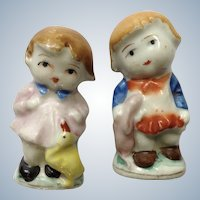 Occupied Japan Porcelain Figurines Girl with Her Duck and Boy with His Bunny Rabbit