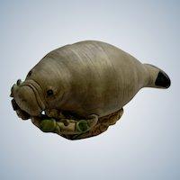 Manatee Animal Underwater Figurine Statue Handmade Peru Clay Pottery
