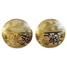 Beautiful Berebl Round Gold-Tone Pierced Earrings