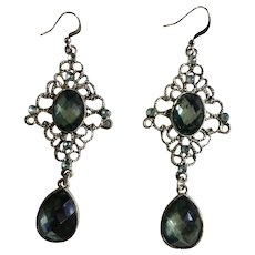 Pretty Silver-Tone Blue Sparkle Dangling Hook Earrings 3""