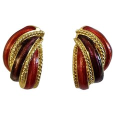 Lovely Red & Purple Gold-Tone Pierced Earrings