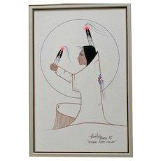 Ray Darby, Thayhaiya, Hunting Horse Native American Kiowa Gouache Watercolor Painting Kiowa Story Teller Signed by Listed Artist