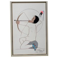 Ray Darby, Thayhaiya, Hunting Horse Native American Kiowa Gouache Watercolor Painting Kiowa Hunter Signed by Listed Artist