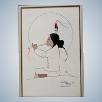 Ray Darby, Thayhaiya, Hunting Horse Native American Kiowa Gouache Watercolor Painting Kiowa Flute Signed by Listed Artist