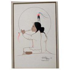 Ray Darby, Thayhaiya, Hunting Horse Native American Kiowa Gouache Watercolor Painting Kiowa Flute Signed by Listed Artist