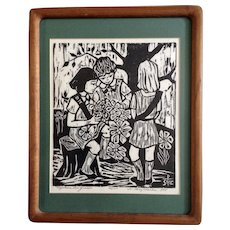 Sister Mary Charles (Molly) McGough (1925 - 2007) Girl Scouts, Together We Grow, Woodcut Woodblock Print Limited Edition Signed by Listed Artist