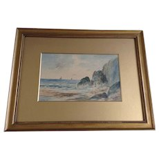 F. J. Reynolds Rock Bound Coast, 20th Century Seascape Watercolor Painting Signed by English Artist