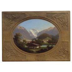 F. Dietrich, Swiss Alps Landscape Oil Painting on Hand Carved Board Signed by Artist