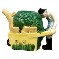 J. Luber Flower Cart Man Teapot By Roy Simpson Pottery Figurine