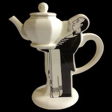 Butler Teapot Table Service Silver Crane Company England 1988