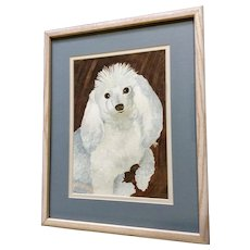 White Poodle Dog Watercolor Painting Signed by Artist Dixon
