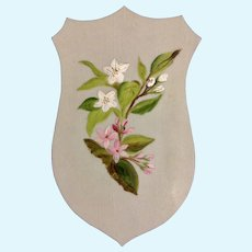 1875-1880 Small Victorian Celluloid Hand Painted Floral Motif Oil Painting on a Shield