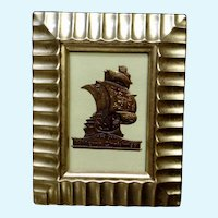 Victorian 1875-1880 Christmas Spanish Galleon Embossed Heavy Foil Sticker Seal