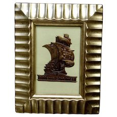 Victorian 1875-1880 Merry Christmas Spanish Galleon Embossed Heavy Foil Sticker Seal in Frame