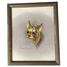 Peggy Harris, Yorkshire Terrier Puppy Dog Oil Painting Titled 'Ruff N Tuft' Oil Painting on Canvas Signed by Illustrator Artist