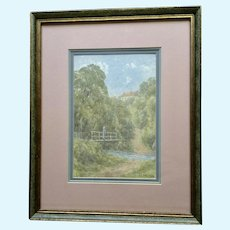 J. E. Ord, Impressionism Landscape Figural Watercolor Painting The Ford Glaisdale
