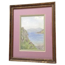 J. E. Ord, Impressionist Landscape Scottish Loch with Sail Boats Watercolor Painting, Signed by Listed English / Scottish Artist