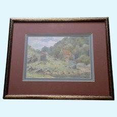 J. E. Ord, Impressionism Landscape Roosters Countryside Cottage Watercolor Painting