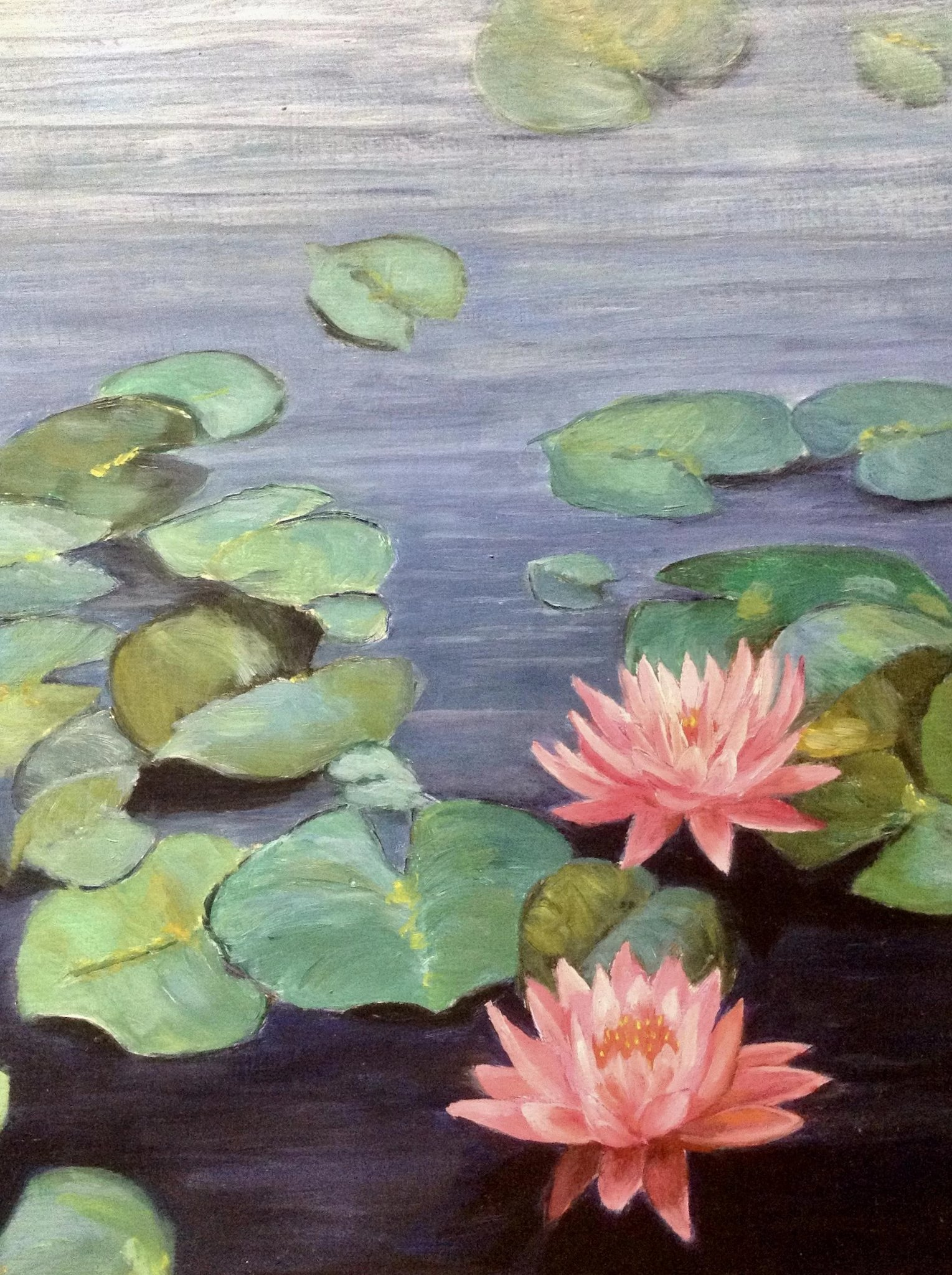 L Monello Pink Water Lily Flowers In A Pond Oil Painting On Canvas