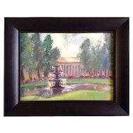 Telechow, Painting, Fountain at the Park, Original Oil on Flax Linen Signed by Artist
