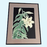 Hanmoto Uchida, Lily Flowers Japanese Woodblock Print Signed by Artist Monogramed Stamp