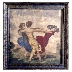 Franz Von Stuck (1863-1928) The Merry Dancers, Antique Sepia Lithograph Aquatint Print Women Dancing