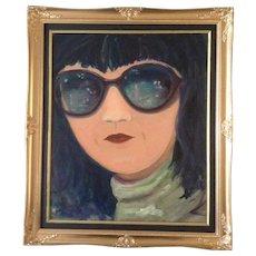 Mod Girl Sun Glasses, Modern Art Original Oil Painting