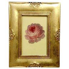 Victorian 1875-1880 Gorgeous Pink Rose Flower Die-Cut Embossed Paper Scrap in Gold Frame