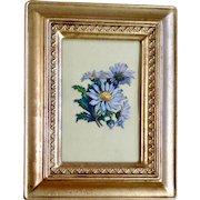 Victorian 1875-1880 Beautiful Flowers White Daisies Die-Cut Embossed Paper Scrap in Gold Frame