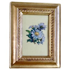 Victorian 1875-1880 Beautiful Flowers White Daisies Die-Cut Embossed Paper Scrap in Gold Frame