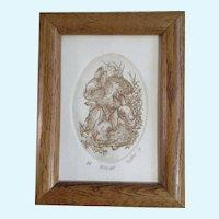 Marsha K Howe, Etching Bunnies, Artist Proof Limited Edition Print