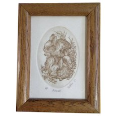 Marsha K Howe, Etching, Bunch of Bunnies, Artist Proof Limited Edition Print, Signed by Listed Artist