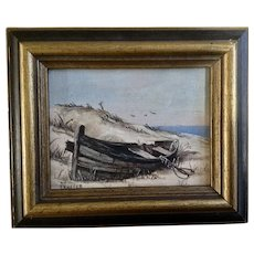 Nuffer, Abandoned Boat on Deserted Beach Small Oil Painting on Canvas Signed by Artist
