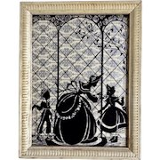 Silhouette of Victorian Woman with Son and Daughter, Reverse Glass Serigraph Painting