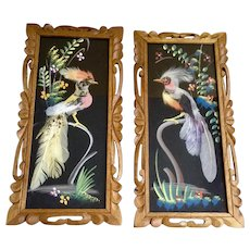 Vintage Mexican Feather Art Birds Mid Century Oil Painting Vivid Color Hand Carved Wood Frame Made in Mexico Cartimex