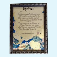 1930's-1940's Mother Poem Print by Anna Hempstead Bluebirds Floral