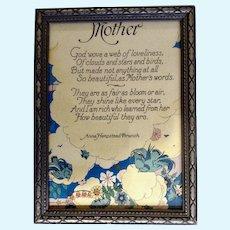 1930's-1940's Mother Poem Print by Anna Hempstead Branch Bluebirds Floral in Original Frame