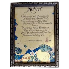 1930's-1940's Mother Poem Print by Anna Hempstead Branch Bluebirds Floral in Original Frame